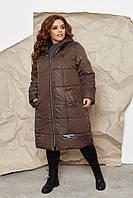 Стильне жіноче стьобана батальне пряме пальто-куртка з капюшоном супер-батал р. 58-64. Арт-1313/37 коричневий