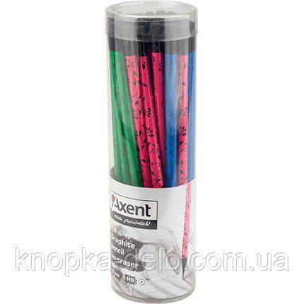 Карандаш графитный Axent 9008/36-A с ластиком, НВ, фото 2