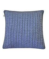 Декоративная вязаная наволочка на подушку Прованс SOFT косы Синий меланж 45*45