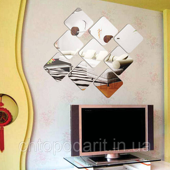 Дзеркало безпечне, ударостійкі дзеркальні наклейки ПВХ стікери квадрат комплект з 12 шт. Код 00-2002