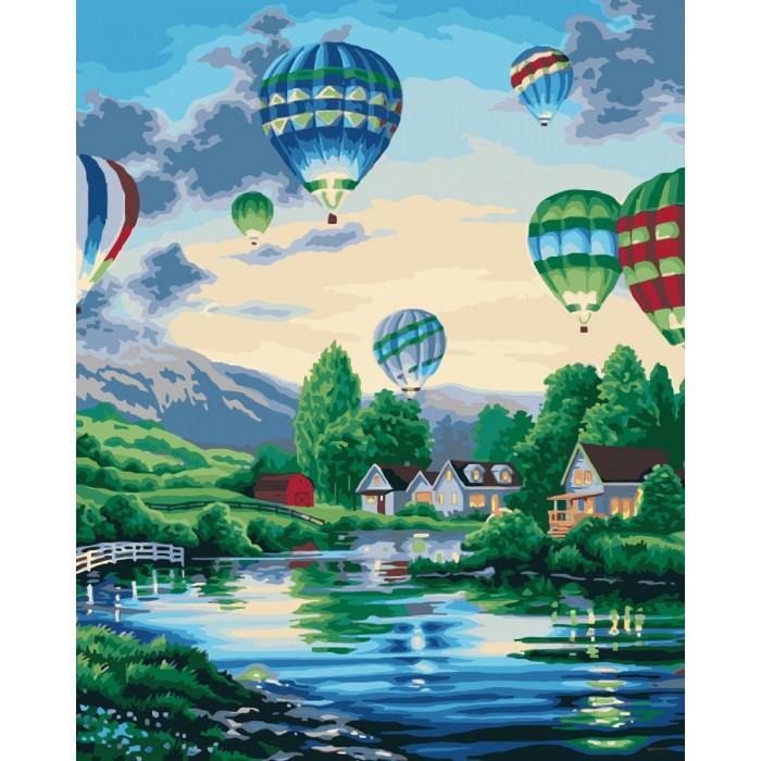 """Картина по номерам 40*50см Сільський пейзаж """"Повітряні кулі 2"""" Ідейка КНО2221"""