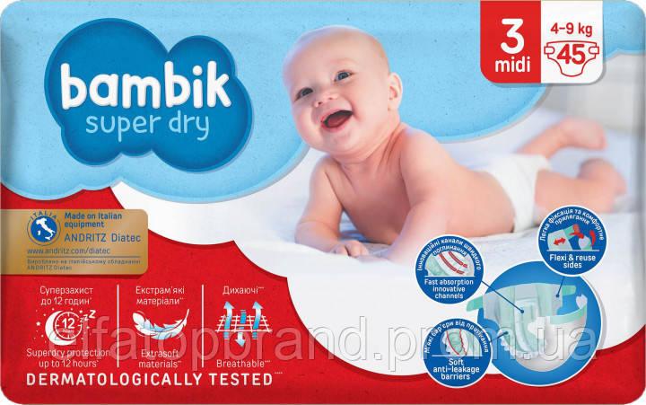 Подгузники Детские Одноразовые Bambik Бамбик Jumbo Джамбо 3 MIDI Миди (4-9 кг) 45 шт