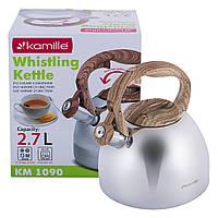 Чайник Kamille 2.7л из нержавеющей стали со свистком и бакелитовой ручкой KM-1090, фото 1