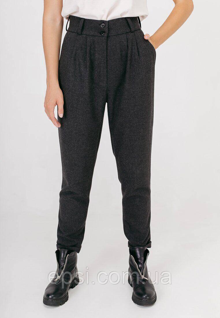 Женские укороченные брюки с двумя складками Bessa 3262-L серые