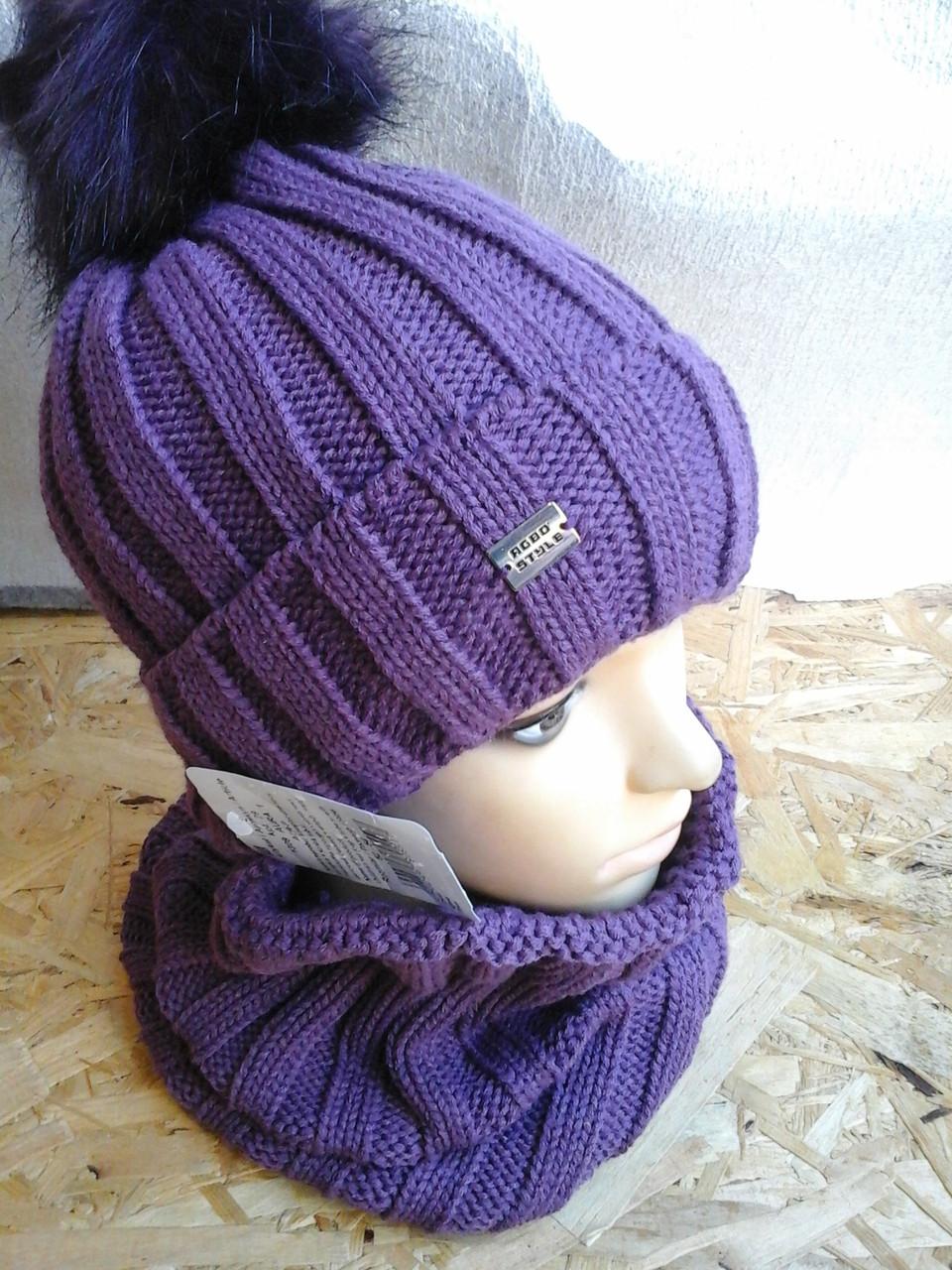 Вязанная шапочка  с хомутом