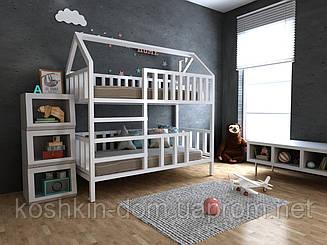 Двох'ярусне ліжко будиночок Моллі натуральне дерево