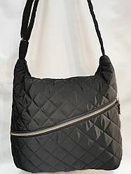 Сумка стеганая женская черная на плечо спереди карман на молнии 202390