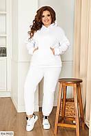 Женский осенний спортивный костюм батал белый, серый, пудра, красный, черный