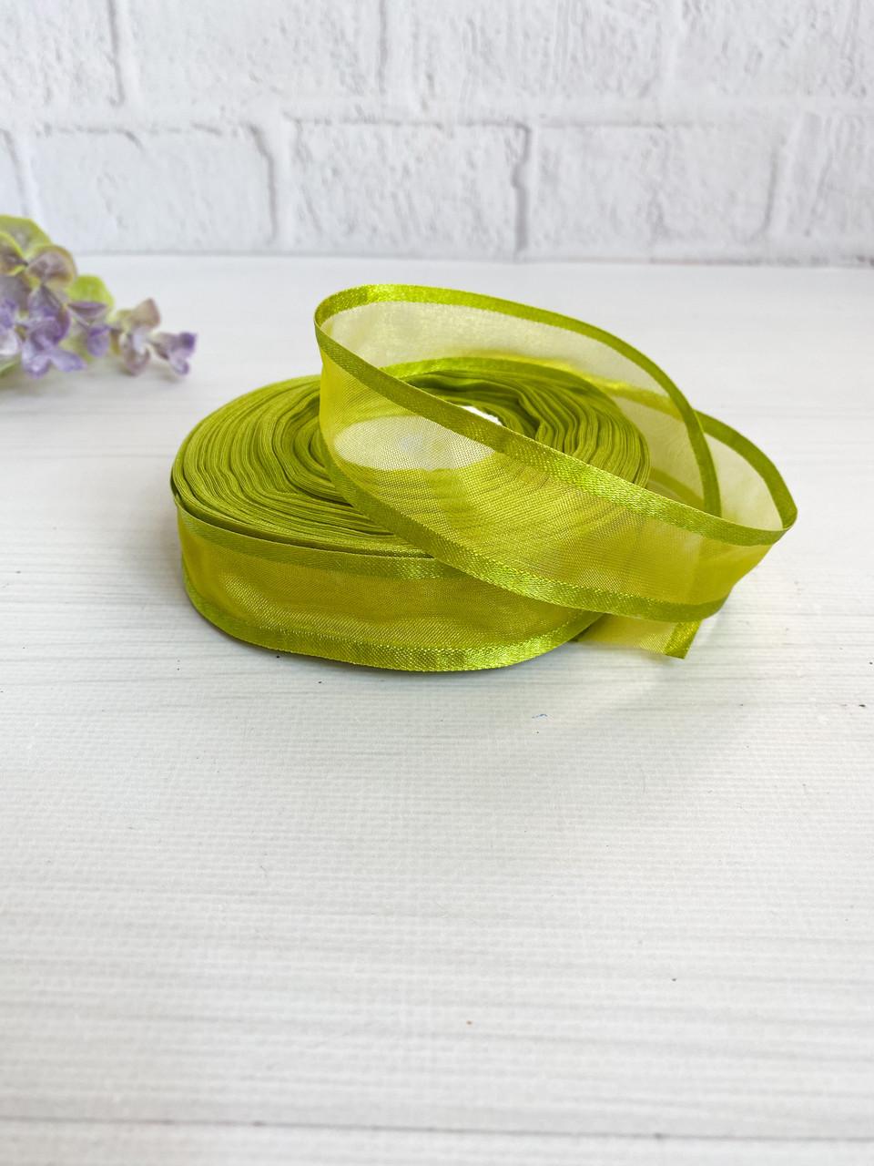 Органза с атласным краем оливковая 2,5 см