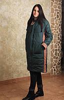 Зимнее пальто зелёное ломпас