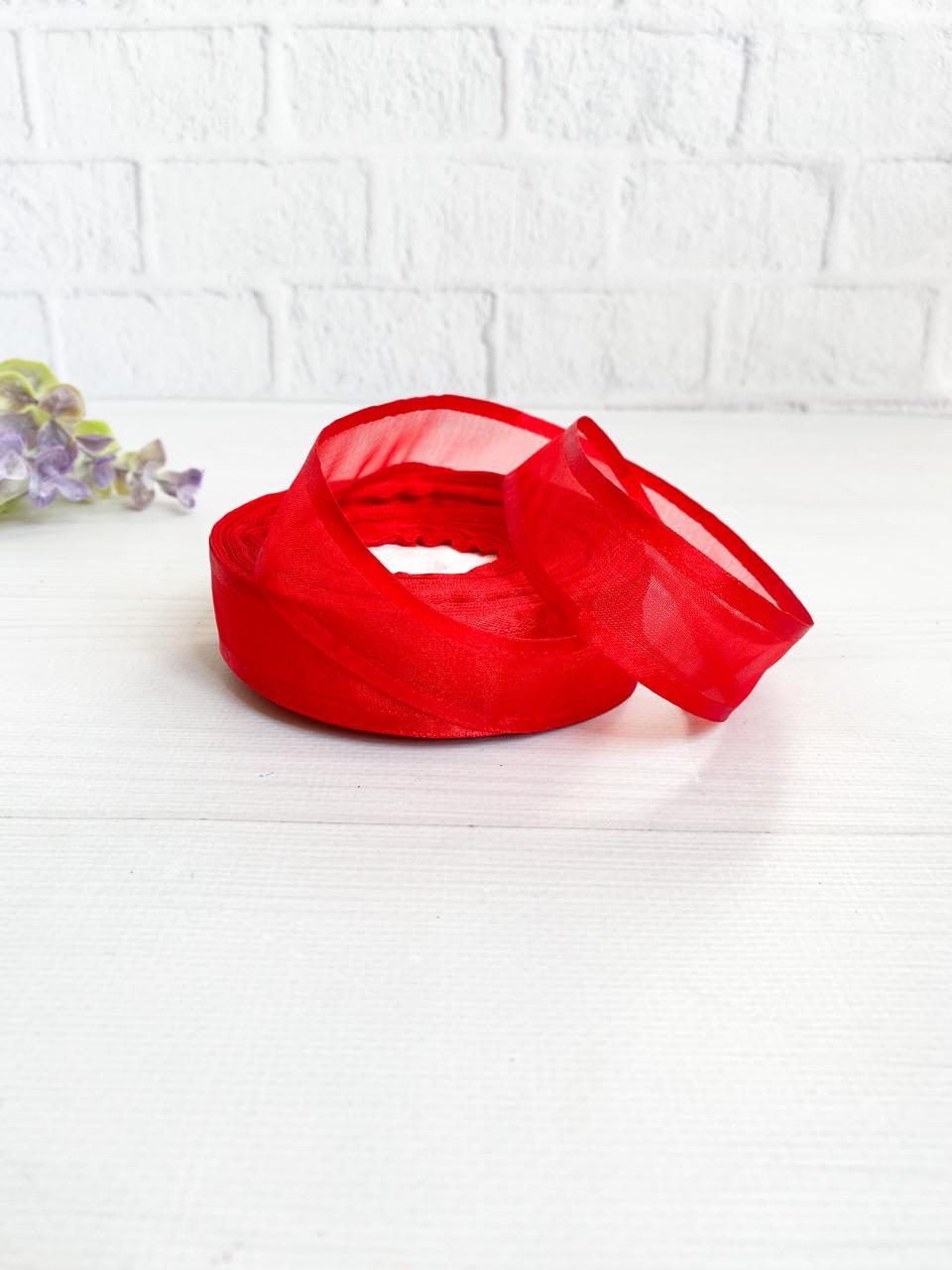 Органза з атласним краєм 4 см червона