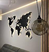 Деревянная карта Мира с подсветкой (Теплая) M-150x90 см Антрацит