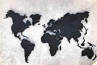 Деревянная карта Мира с LED подсветкой (Холодная) и гравировкой S-120x70 см