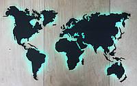 Деревянная карта Мира с подсветкой RGB и гравировкой XS-100х60 см