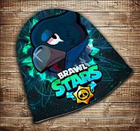 Шапка с 3D принтом Бравл Старс Ворон Face Brawl Stars Все размеры, все сезоны.