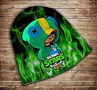Шапка с 3D принтом Бравл Старс Леон Зеленый огонь Brawl Stars Все размеры, все сезоны.
