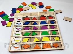 Деревянная игра Планшет Цвет-форма Познавалка