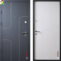 Двері металеві Zimen Скай Графіт Матовий/Біле Дерево для квартири, для офісу