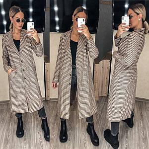 Женское пальто в клетку 7199 (ФФ)