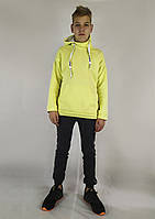 Яркая мужская кофта-толстовка в желтом цвете с капюшоном S, M, L, фото 1