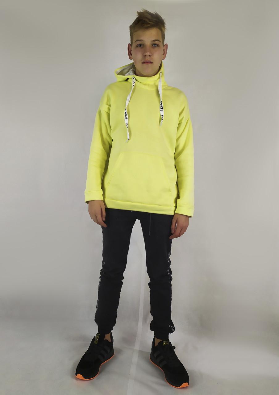 Яркая мужская кофта-толстовка в желтом цвете с капюшоном S, M, L