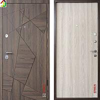 Двері металеві Zimen Aztec Дуб Галлифакс Шоколад Софт/Дуб Галлифакс Шоколад Молочний софт для квартири