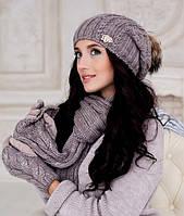 Зимний женский комплект  4253-15  (ШАПКА, ШАРФ И ПЕРЧАТКИ)