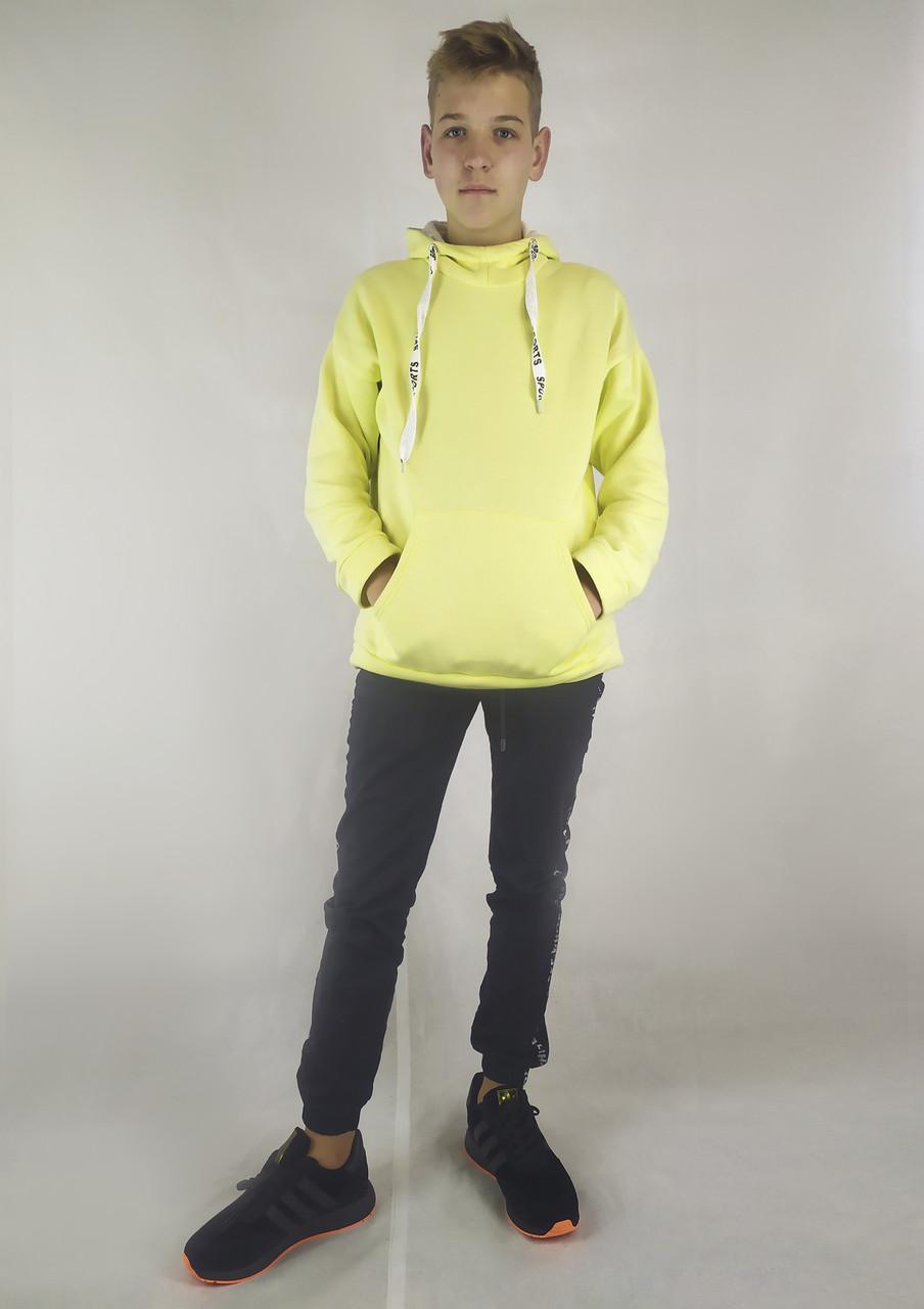 Мужская кофта-толстовка на флисе с капюшоном и карманами XL, XXL, 3XL