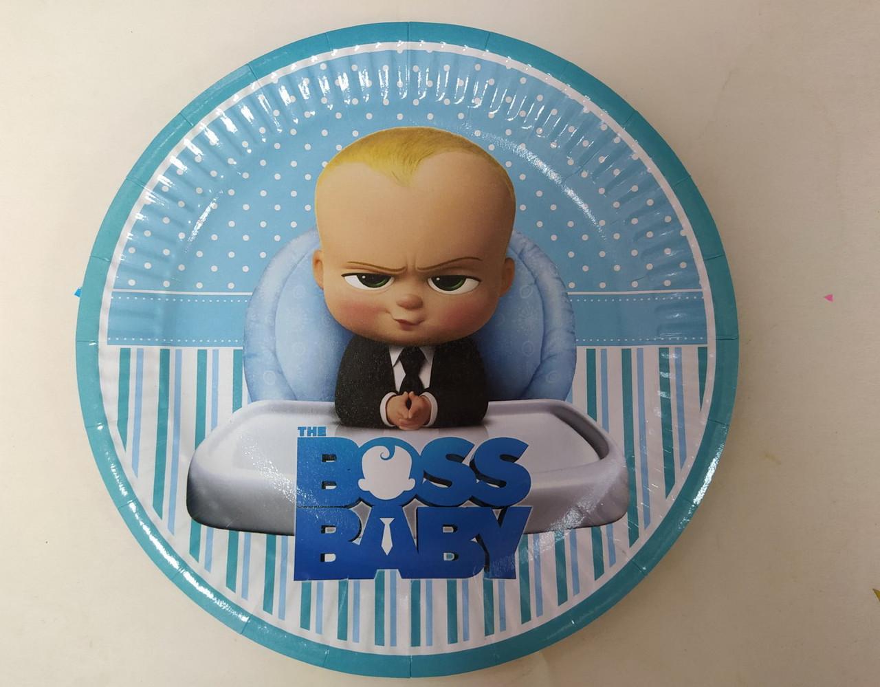 Паперова тарілка блакитний принт Boss Baby 18см. упаковка 5шт.