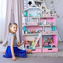 """Кукольный домик NestWood """"БОЛЬШОЙ ОСОБНЯК"""" для кукол LOL/OMG/Барби, розовый"""