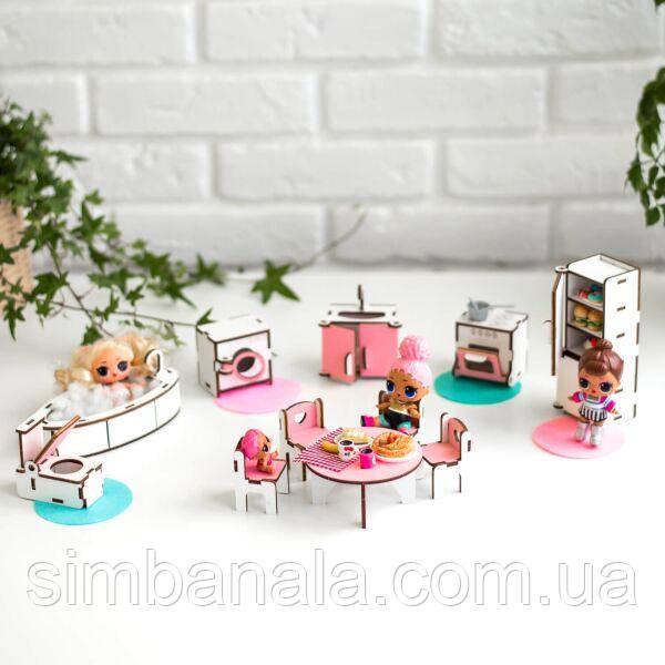 """Набор кукольной мебели NestWood для LOL """"Кухня+ванная"""" , розовый"""