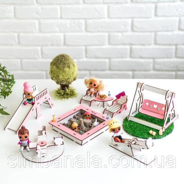 """Набір лялькової меблів """"Дитячий майданчик"""" NestWood для LOL, рожевий"""