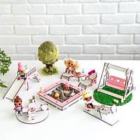 """Набір лялькової меблів """"Дитячий майданчик"""" NestWood для LOL, рожевий, фото 1"""