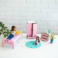"""Набор кукольной мебели """"Спальня"""" для Барби (бело-розовая), NestWood"""