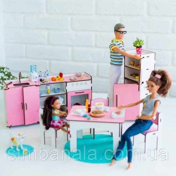 """Набор кукольной мебели """"КУХНЯ"""" для Барби, (бело-розовая) NestWood"""