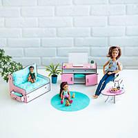 """Набор мебели для кукол Барби """"Гостиная"""", NestWood бело-розовая"""