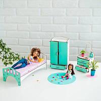 """Набор кукольной мебели для Барби """"Спальня"""" , бело-мятная NestWood"""