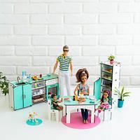 """Набор кукольной мебели """"Кухня"""" для Барби, бело-мятная NestWood"""
