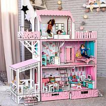 """Кукольный домик  для Барби """"ЛЮКС терраса+балкон"""" , без мебели, розовый NestWood"""