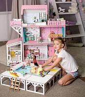 """Кукольный домик для LOL/OMG/Барби """"ЛЮКС терраса+балкон+бассейн"""", без мебели, розовый"""