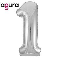 Фольгированная цифра 1 (40') Agura Slim серебро в упаковке, 102 см