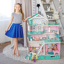 Большой кукольный домик  для кукол LOL/OMG/Барби, мятный NestWood