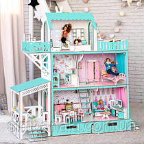 """Кукольный домик для Барби """"ЛЮКС терраса+балкон"""", без мебели, мятный"""