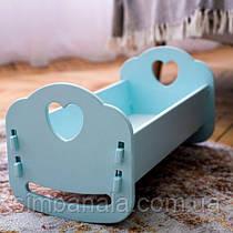 Деревянная кроватка-люлька  для  пупсов мятная