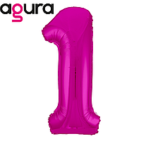 Фольгированная цифра 1 (40') Agura Slim фуше в упаковке, 102 см