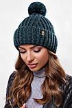 Стильна жіноча зимова шапка з бубоном з підворотом (чорний, р. UNI), фото 2