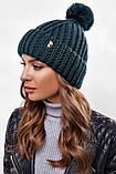 Стильна жіноча зимова шапка з бубоном з підворотом (чорний, р. UNI), фото 3