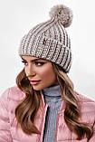 Стильна жіноча зимова шапка з бубоном з підворотом (чорний, р. UNI), фото 6