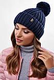 Стильна жіноча зимова шапка з бубоном з підворотом (чорний, р. UNI), фото 8