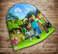 Шапка с 3D принтом MINECRAFT WORLDS / Мир майнкрафт Все размеры, все сезоны. Все размеры, все сезоны